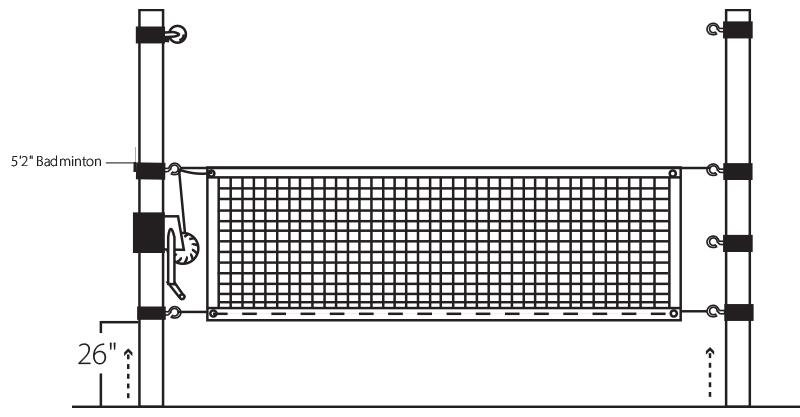 Illustrated Badminton Net Height