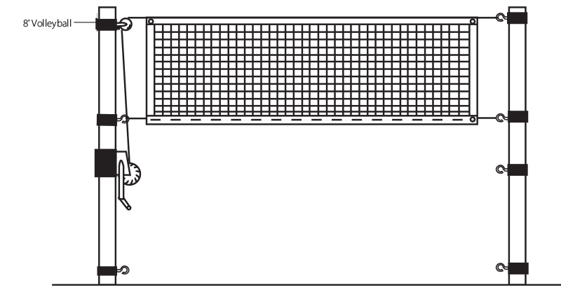 Illustrated Volleyball Net Height