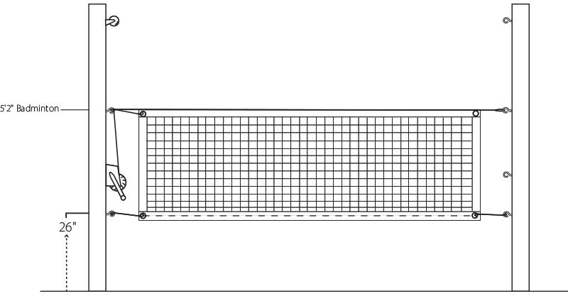 Badminton Net Height Illustration